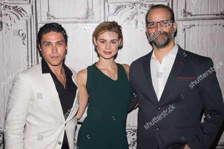 Logan Huffman, left, Lucy Fry and Joseph Castelo participate in AOL's BUILD Speaker Series to discuss the film The Preppie Connection at AOL Studios, in New York
