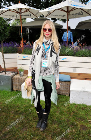 Chloe Delevigne poses in the Barclaycard Unwind Lounge, at the Barclaycard Wireless Festival 2012 on in London