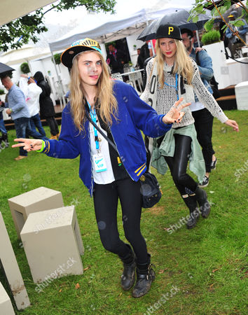 Poppy Delevigne, Chloe Delevigne poses in the Barclaycard Unwind Lounge, at the Barclaycard Wireless Festival 2012 on in London