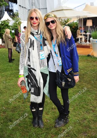 Poppy Delevigne, Chloe Develigne poses in the Barclaycard Unwind Lounge, at the Barclaycard Wireless Festival 2012 on in London