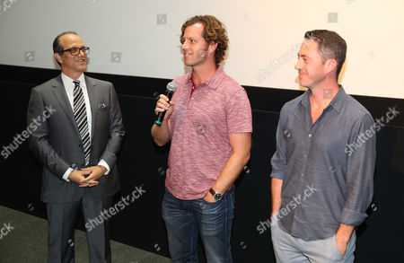 "Gary Michael Walters, CEO Bold Films, and from left, John Erick Dowdle, Director and Writer, and Drew Dowdle, Writer and Producer, attend the Bold Films Special Screening of ""No Escape"", in Beverly Hills, Calif"