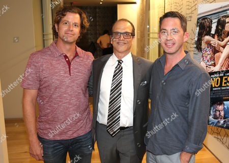 "John Erick Dowdle, Director and Writer, and from left, Gary Michael Walters, CEO Bold Films, and Drew Dowdle, Writer and Producer, attend the Bold Films Special Screening of ""No Escape"", in Beverly Hills, Calif"
