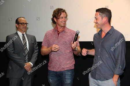 """Gary Michael Walters, CEO Bold Films, and from left, John Erick Dowdle, Director and Writer, and Drew Dowdle, Writer and Producer, attend the Bold Films Special Screening of """"No Escape"""", in Beverly Hills, Calif"""