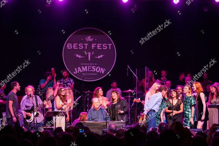 From left, Al Jardine, Bethany Cosentino, Brian Wislon, Wendy Wilson, Carnie Wilson, Blondie Chaplin, Kesha, Lucius, Norah Jones, and Karen Elson perform on stage during Brian Fest: A Night To Celebrate The Music Of Brian Wilson at the Fonda Theatre, in Los Angeles