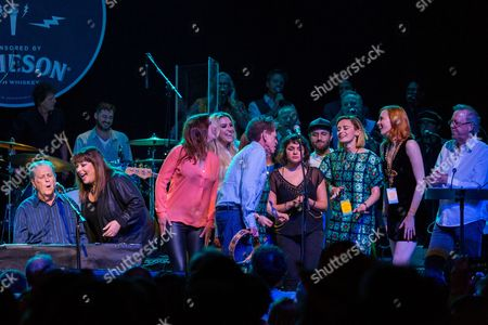 """From left, Brian Wilson, Carnie Wilson, Wendy Wilson, Blondie Chaplin, Kesha, Lucius, Norah Jones, and Karen Elson perform onstage during """"Brian Fest: A Night To Celebrate The Music Of Brian Wilson,"""" at the Fonda Theatre, in Los Angeles"""