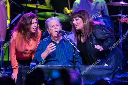 """From left, Wendy Wilson, Brian Wilson and Carnie Wilson perform onstage during """"Brian Fest: A Night To Celebrate The Music Of Brian Wilson,"""" at the Fonda Theatre, in Los Angeles"""
