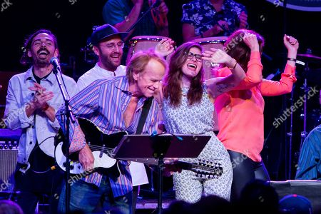 From left, Al Jardine, Bethany Cosentino, and Wendy Wilson perform on stage during Brian Fest: A Night To Celebrate The Music Of Brian Wilson at the Fonda Theatre, in Los Angeles