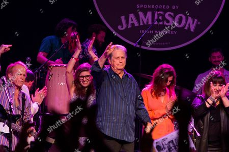 From left, Al Jardine, Bethany Cosentino, Brian Wilson, Wendy Wilson, Carnie Wilson perform on stage during Brian Fest: A Night To Celebrate The Music Of Brian Wilson at the Fonda Theatre, in Los Angeles