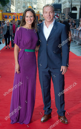 Sir Chris Hoy Retired track cyclist Chris Hoy and his wife Sarra Kemp arrive at the London Premiere of Alan Partridge: Alpha Papa at a central London cinema
