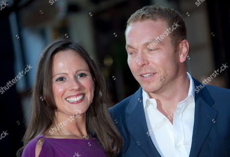 Sir Chris Hoy and wife Sarra Kemp arrive at the London Premiere of Alan Partridge: Alpha Papa at a central London cinema