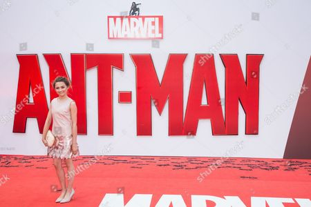 Isobelle Molloy poses for photographers upon arrival at the premiere of the film Ant Man in London