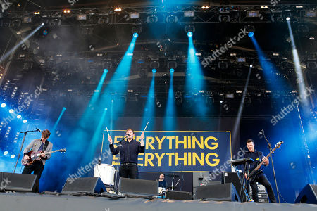 Alex Robertshaw, Jonathan Higgs, Michael Spearman and Jeremy Pritchard Everything Everything perform at the Isle of Wight Festival in Newport on the Isle of Wight on . Thousands of people are to attend the three day event with headliners, the Stone Roses, the Killers and Bon Jovi