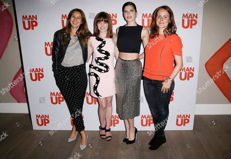 Tess Morris, from left to right, Ophelia Lovibond, Lake Bell and Producer Nira Park pose for photographs at the screening of Man Up at Soho Hotel in central London, Tuesday, 5 May, 2015