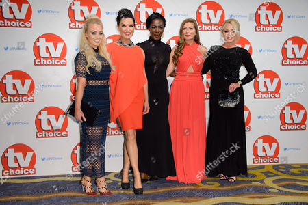 Stock Image of Jorgie Porter, Zoe Lucker, Jacqueline Boatswain, Nikki Sanderson and Kirtsy-Leigh Porter pose for photographers at the TV Choice Awards 2015 at a central London venue, London