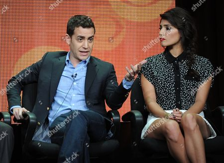 """From left, executive producer/director Jason Winer and actor Amanda Setton participate in the """"The Crazy Ones"""" panel at the 2013 CBS Summer TCA Press Tour at the Beverly Hilton Hotel on in Beverly Hills, Calif"""