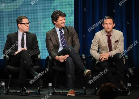 """From left, actors French Stewart, Matt Jones and Nate Corddry participate in the """"Mom"""" panel at the 2013 CBS Summer TCA Press Tour at the Beverly Hilton Hotel on in Beverly Hills, Calif"""