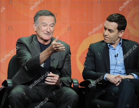 """From left, actor Robin Williams and executive producer/director Jason Winer participate in the """"The Crazy Ones"""" panel at the 2013 CBS Summer TCA Press Tour at the Beverly Hilton Hotel on in Beverly Hills, Calif"""