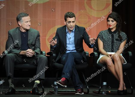 """From left, actor Robin Williams, executive producer/director Jason Winer and actor Amanda Setton participate in the """"The Crazy Ones"""" panel at the 2013 CBS Summer TCA Press Tour at the Beverly Hilton Hotel on in Beverly Hills, Calif"""