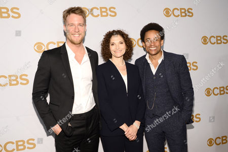 Jake McDorman, from left, Mary Elizabeth Mastrantonio and Hill Parker attend the CBS Network 2015 Programming Upfront at The Tent at Lincoln Center, in New York