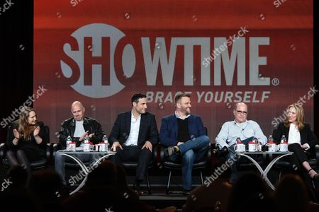"From left, Merritt Wever, Paul Schulze, Dominic Fumusa, Stephen Wallem, Clyde Phillips, and Edie Falco speak on stage during the ""Nurse Jackie"" Final Season panel at the CBS/Showtime 2015 Winter TCA, in Pasadena, Calif"