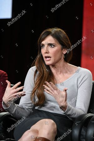 """Nancy M. Pimental speaks on stage during the """"Sexuality and Television: A Female Perspective"""" panel at the CBS/Showtime 2015 Winter TCA, in Pasadena, Calif"""