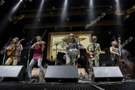 Josh Erwin, Tom Baker, Andrew Heaton, Michael Paynter and Zach McCoy with Packway Handle Band opens for Kid Rock during the Cheap Date Tour 2015 at Aaron's Amphitheatre, in Atlanta