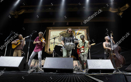 Stock Picture of Josh Erwin, Tom Baker, Andrew Heaton, Michael Paynter and Zach McCoy with Packway Handle Band opens for Kid Rock during the Cheap Date Tour 2015 at Aaron's Amphitheatre, in Atlanta