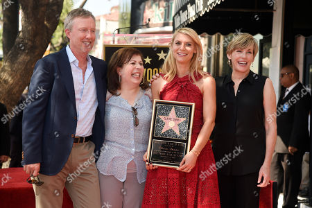 "Actress Claire Danes, second from right, poses with, left to right, ""Homeland"" co-creator and executive producer Alex Gansa, ""So Called Life"" creator Winnie Holzma and ""So Called Life"" cast member Bess Armstrong after she received a star on the Hollywood Walk of Fame, in Los Angeles"