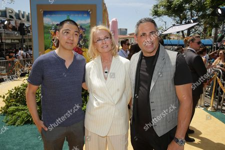 """Composer Toby Chu, Producer Bonne Radford and Exec. Producer Greg Centineo seen at Clarius Entertainment Los Angeles Premiere of """"Legends of Oz: Dorothy's Return"""" at Regency Village Theater, in Los Angeles, CA"""