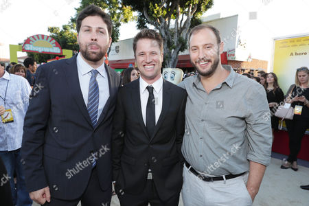 "Executive Producer/Writer Ariel Shaffir, Executive Producer/Writer Kyle Hunter and Writer/Producer Evan Goldberg seen at Columbia Pictures and AnnaPurna World Premiere of ""Sausage Party"", in Los Angeles"