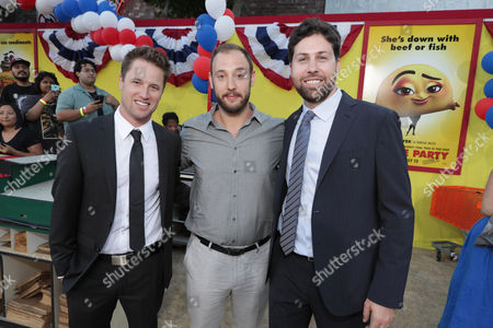 "Executive Producer/Writer Kyle Hunter, Writer/Producer Evan Goldberg and Executive Producer/Writer Ariel Shaffir seen at Columbia Pictures and AnnaPurna World Premiere of ""Sausage Party"", in Los Angeles"