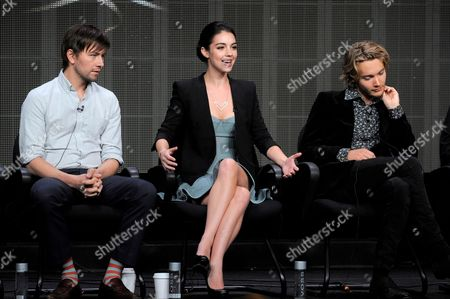 "Cast members, from left, Torrance Coombs, Adelaide Kane and Toby Regbo participate in the ""Reign"" panel at the CW Summer TCA, at the Beverly Hilton hotel in Beverly Hills, Calif"