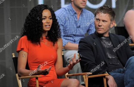 """Actors Madeleine Mantock, left, and Mark Pellegrino participate in """"The Tomorrow People"""" panel at the CW Summer TCA, at the Beverly Hilton hotel in Beverly Hills, Calif"""