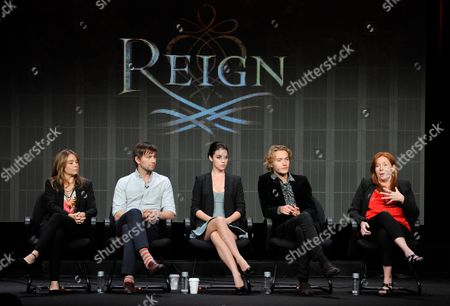 "From left, Megan Follows, Torrance Coombs, Adelaide Kane, Toby Regbo and executive producer Laurie McCarthy participate in the ""Reign"" panel at the CW Summer TCA, at the Beverly Hilton hotel in Beverly Hills, Calif"