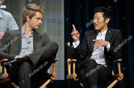 "Stock Picture of Actors Luke Mitchell, left, and Aaron Yoo participate in ""The Tomorrow People"" panel at the CW Summer TCA, at the Beverly Hilton hotel in Beverly Hills, Calif"