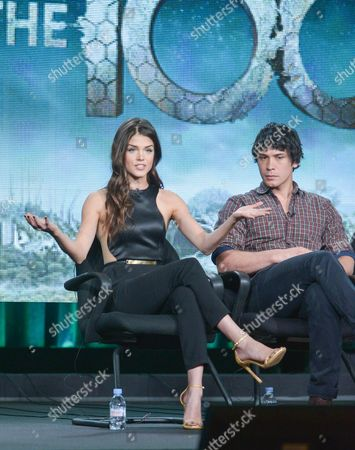 """From left,Marie Avgeropulos, and Bob Morley participate in the """"The 100"""" panel discussion at the CW Winter 2014 TCA Press Tour, Wed, in Pasadena, Calif"""