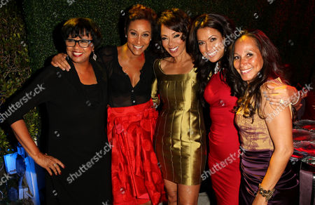 "From left, AMPAS president Cheryl Boone Isaacs, Desiree Rogers, Debra Martin Chase, Tracey Edmonds, and Toni Thompson attend the ""House of Flowers"" dinner honoring Diahann Carol and Boone Isaacs at the home of Tracey Edmonds on in Beverly Hills, Calif"