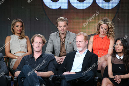 """From top left, Vanessa Lengies, Adam Campbell, Alexis Carra, executive producer Jon Lucas, executive producer Scott Moore, and Ginger Gonzaga participate in the """"Mixology"""" panel discussion at the Disney/ABC Winter 2014 TCA Press Tour on in Pasadena, Calif"""