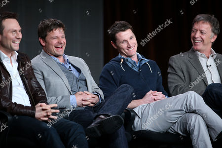 "From left, Christian Slater, Steve Zahn, executive producers Kyle Killen and Donald Tudd participate in the ""Mind Games"" panel discussion at the Disney/ABC Winter 2014 TCA Press Tour on in Pasadena, Calif"