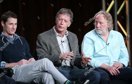 "Stock Image of From left, executive producers Kyle Killen, Donald Tudd and Timothy Busfield participate in the ""Mind Games"" panel discussion at the Disney/ABC Winter 2014 TCA Press Tour on in Pasadena, Calif"