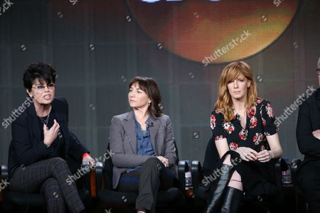 "From left, executive producers Amy Holden Jones and Ilene Chaiken, and Kelly Reilly participate in ""The Black Box"" panel discussion at the Disney/ABC Winter 2014 TCA Press Tour on in Pasadena, Calif"