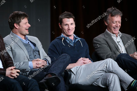 "From left, Steve Zahn, executive producers Kyle Killen and Donald Tudd participate in the ""Mind Games"" panel discussion at the Disney/ABC Winter 2014 TCA Press Tour on in Pasadena, Calif"
