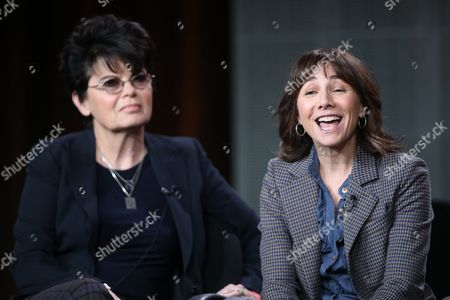 "Executive producers Amy Holden Jones, left, and Ilene Chaiken participate in ""The Black Box"" panel discussion at the Disney/ABC Winter 2014 TCA Press Tour on in Pasadena, Calif"