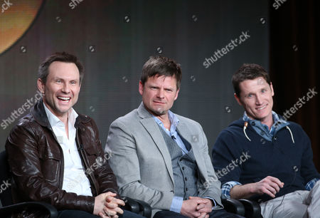 "From left, Christian Slater, Steve Zahn and executive producer Kyle Killen participate in the ""Mind Games"" panel discussion at the Disney/ABC Winter 2014 TCA Press Tour on in Pasadena, Calif"