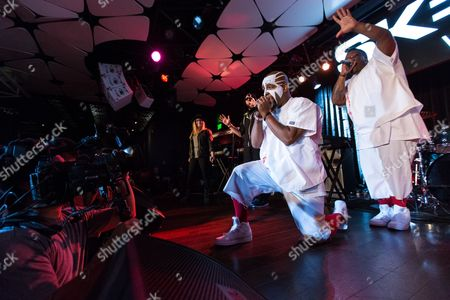 Krizz Kaliko and Tech N9ne (L) perform on DJ SKEE Live on in Los Angeles