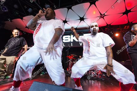 Krizz Kaliko (L) and Tech N9ne perform on DJ SKEE Live on in Los Angeles