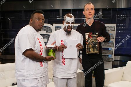 From left, Krizz Kaliko, Tech N9ne, and host DJ Skee film a segment of SKEE Live on in Los Angeles