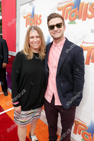 "Producer Gina Shay and Justin Timberlake seen at DreamWorks Animation and Twentieth Century Fox Present the Los Angeles Premiere of ""Trolls"" at Regency Village Theatre, in Los Angeles"
