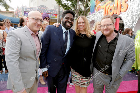 "Director Mike Mitchell, Ron Funches, Producer Gina Shay and Co-Director Walt Dohrn seen at DreamWorks Animation and Twentieth Century Fox Present the Los Angeles Premiere of ""Trolls"" at Regency Village Theatre, in Los Angeles"