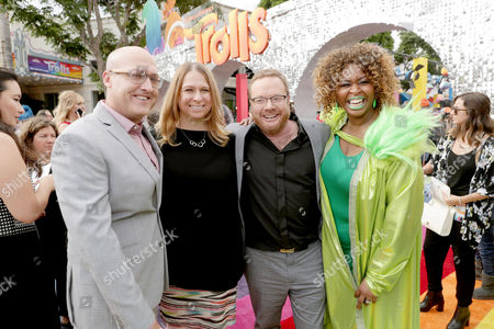 "Director Mike Mitchell, Producer Gina Shay, Co-Director Walt Dohrn and GloZell Green seen at DreamWorks Animation and Twentieth Century Fox Present the Los Angeles Premiere of ""Trolls"" at Regency Village Theatre, in Los Angeles"
